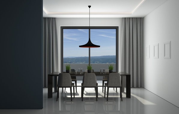 Wallpaper minimalist architecture dining room interier for Dining room 640x1136