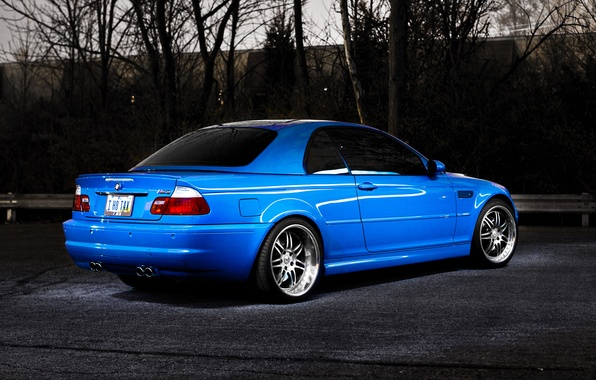 Picture trees, blue, BMW, BMW, blue, E46