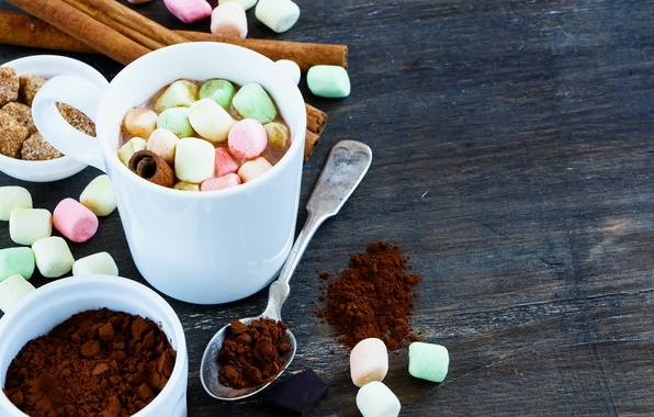 Picture hot, cup, chocolate, marshmallow