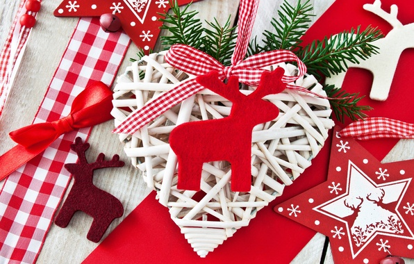 Photo wallpaper branch, heart, tree, Christmas decorations, stars, ribbons, DIY, deer