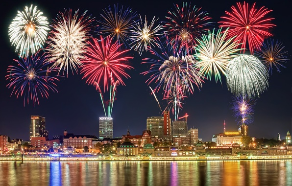Picture city, lights, lights, city, building, new year, new year, fireworks, midnight, fireworks, building, midnight