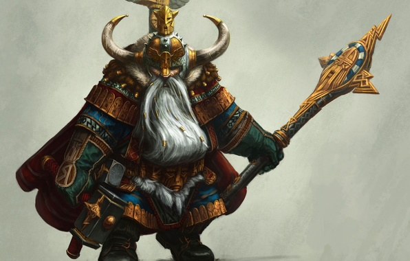 Picture armor, hammer, warrior, art, horns, helmet, staff, beard, dwarf