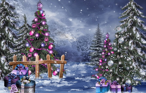 Picture winter, snow, balls, magic, toys, tree, Christmas, gifts, New year, beads, Christmas, box, New Year