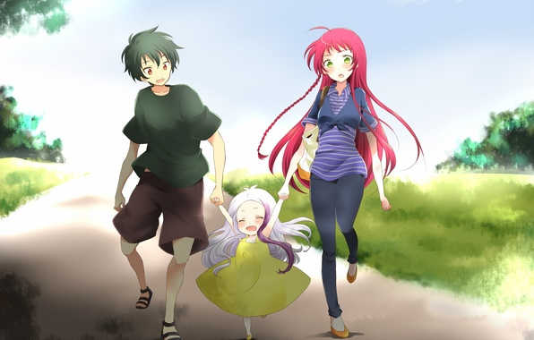 Picture girl, girl, guy, walk, anime, art, Threesome, yusa emi, hataraku maou-sama!, arras ramus, maou sadao