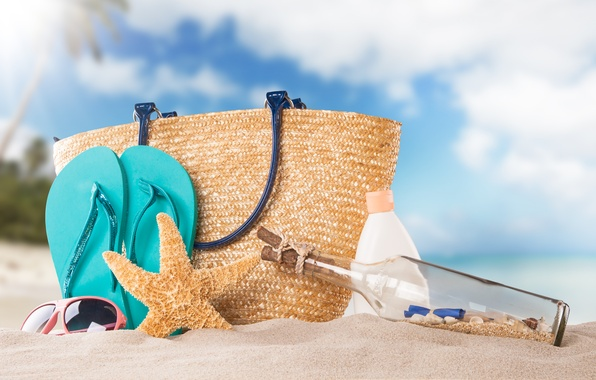 Picture sand, beach, bottle, starfish, bag, cream, slates
