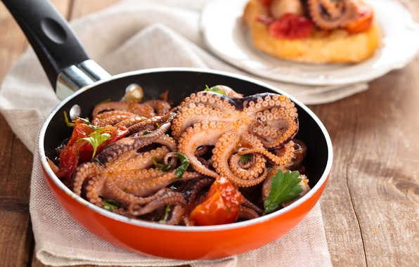Picture food, octopus, seafood, pan