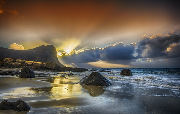 Picture sea, the sky, rays, sunset, clouds, stones, rocks, tide