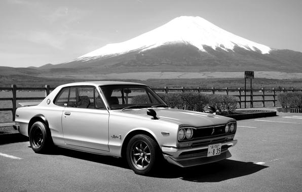 Picture Japan, Mountain, Machine, b/W, Nissan, Japan, Nissan, 2000, Skyline