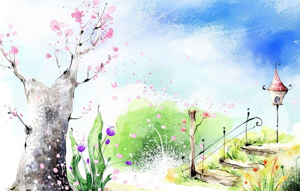 Picture flowers, Park, spring, ladder, lantern