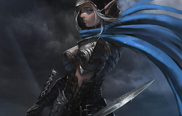 Picture girl, fantasy, art, elf, cloak, daggers