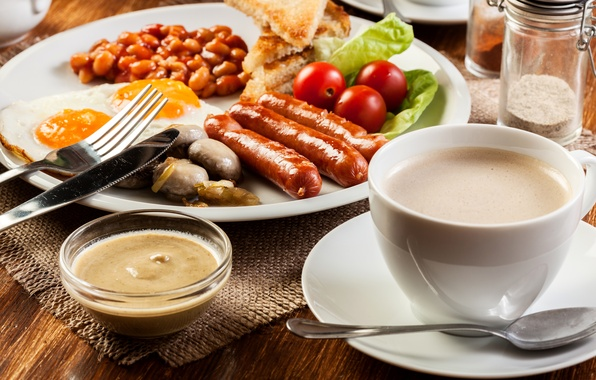 Picture photo, Coffee, Tomatoes, Cup, Food, Still life, Sausage, Scrambled eggs