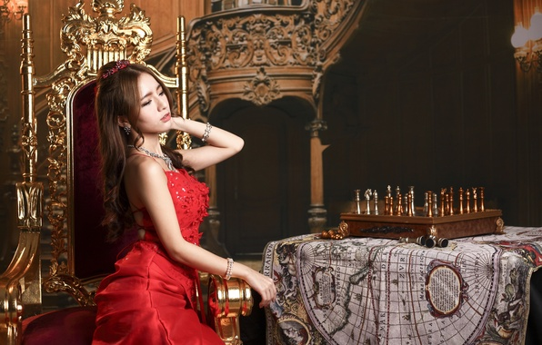 Picture girl, face, style, table, red, map, makeup, chess, dress, Asian