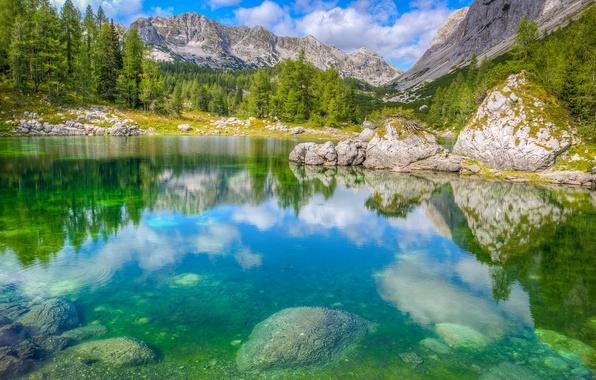 Picture the sky, trees, mountains, lake, stones, rocks, Alps, Slovenia