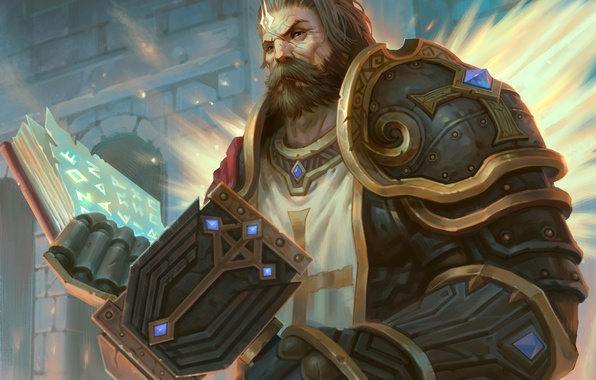 Picture weapons, magic, cross, hammer, art, book, male, paladin, armor