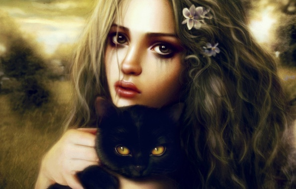 Picture look, girl, kitty, black, art, in the hands