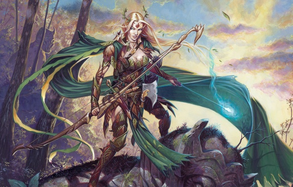 Picture forest, weapons, magic, Girl, armor, elf