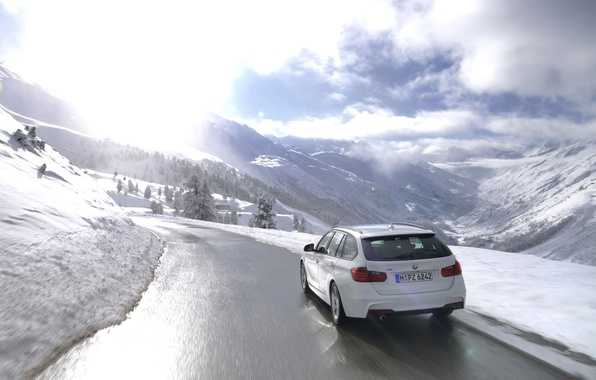 Picture The sun, The sky, Winter, Road, White, BMW, Machine, Universal, 320d, 320 d