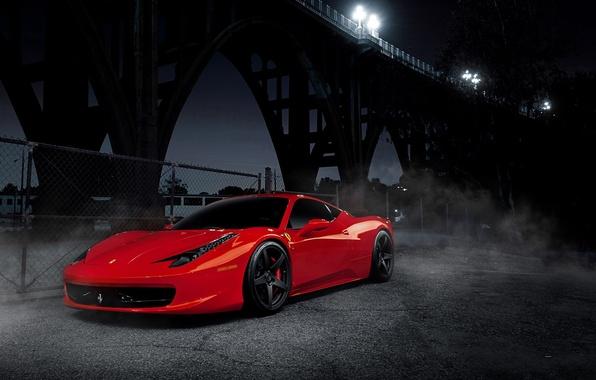 Picture night, red, bridge, black, red, wheels, ferrari, Ferrari, drives, black, front view, bridge, night, Italy, …