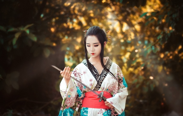 Picture sword, warrior, Asian, well