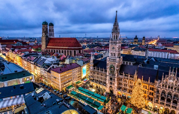 Picture the city, building, home, the evening, Germany, Munich, area, Christmas, Cathedral, market, Germany, Marienplatz, Frauenkirche, …