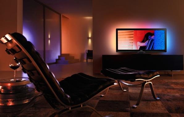 Picture room, mood, romance, the evening, TV, different, nostalgia, dim light