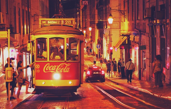 Picture road, night, the city, lights, people, street, rails, home, lights, tram, Portugal, Lisbon