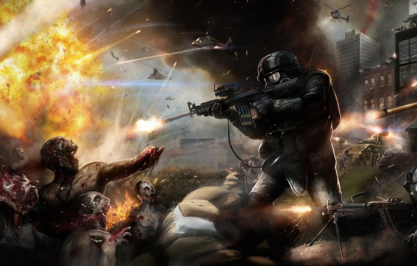 Picture the explosion, weapons, soldiers, helicopter, tank, zombies. battle
