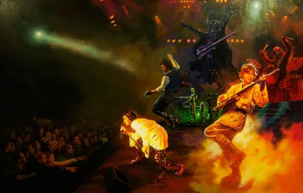 Picture concert, star wars, Darth Vader, Chewbacca, Luke Skywalker, r2d2, Han solo, c-3po, Leia