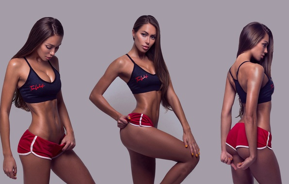 Picture girl, background, collage, sport, model, photoshop, makeup, figure, slim, brunette, hairstyle, shorts, sports, topic, fitness, …