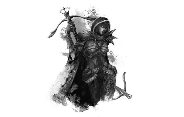 Picture girl, armor, art, Diablo III, demon hunter, demon hunter, crossbows, eksfo