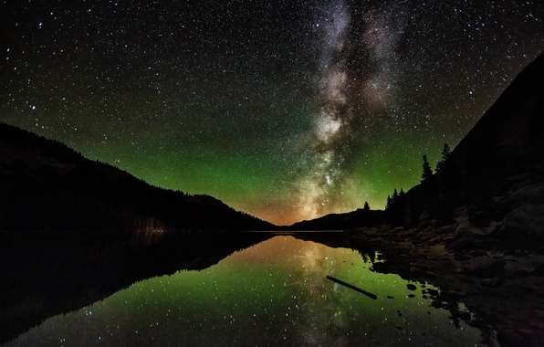 Picture forest, the sky, stars, landscape, mountains, lake, the milky way