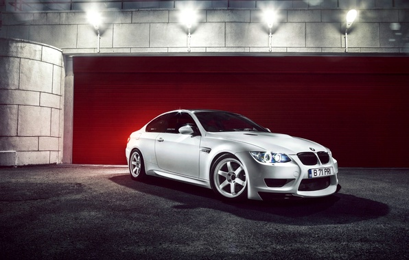 Picture white, night, lamp, BMW, BMW, white, E92, Ciprian Mihai
