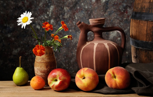 Picture Daisy, vase, pear, pitcher, fruit, still life, apricot, peaches, nectarine, marigolds