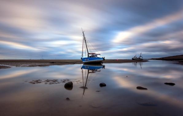 Picture beach, boat, Sea, longexposure, Meols