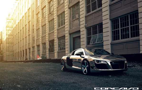 Picture house, reflection, Audi, Chrome, CW-5, Concavo Wheels, Matte Black Machined Face