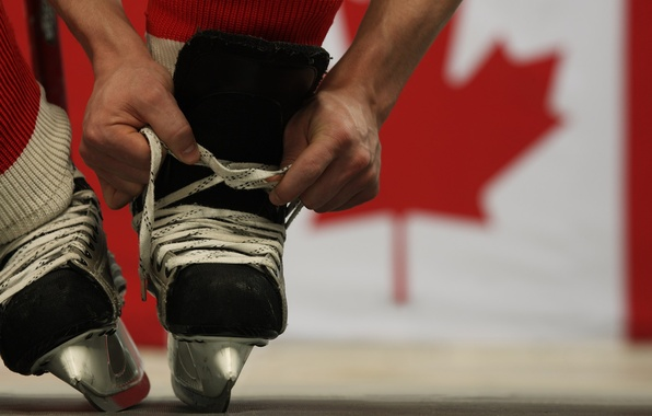 Picture the game, Canada, hockey, laces, skates