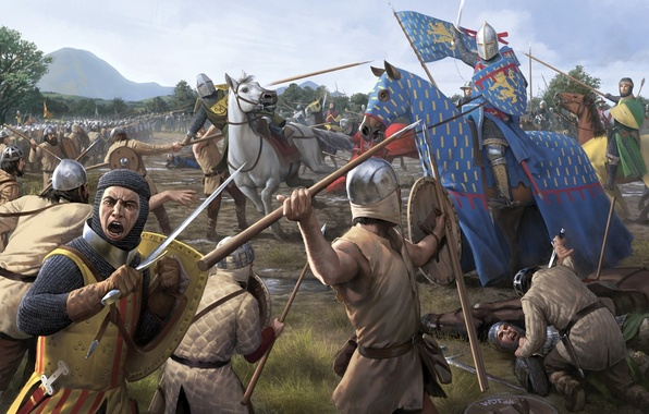 Picture weapons, horse, horse, sword, war, art, spear, battle, the corpse, the middle ages, battlefield