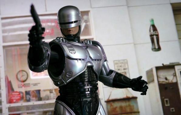 Picture gun, weapons, background, robot, armor, cyborg, Robocop, RoboCop