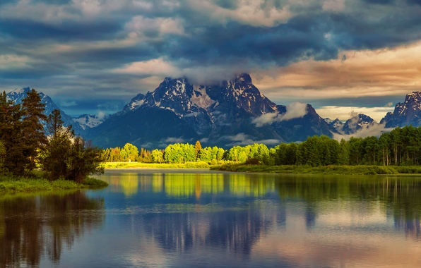 Picture forest, summer, water, clouds, light, reflection, mountains, morning, USA, national Park, Grand Teton, Wyoming, Oxbow …