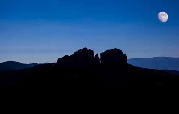 Picture mountains, night, rock, the moon, silhouette, canyon, USA, Arizona, Sedona