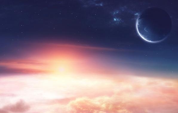 Picture stars, clouds, light, sunrise, planet, space, light, stars