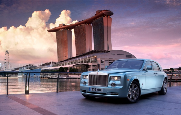 Picture landscape, the city, Rolls-Royce, Singapore, limousine
