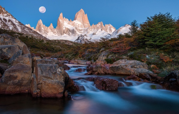 Picture mountains, night, river, the moon, stream, peaks, Argentina, Andes, South America, Patagonia