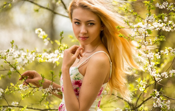 Picture look, girl, face, mood, sweetheart, model, spring, dress, blonde, beautiful, the beauty, flowering, flowers, beauty, …