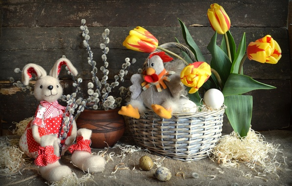 Picture toys, eggs, chicken, rabbit, Easter, tulips, Verba