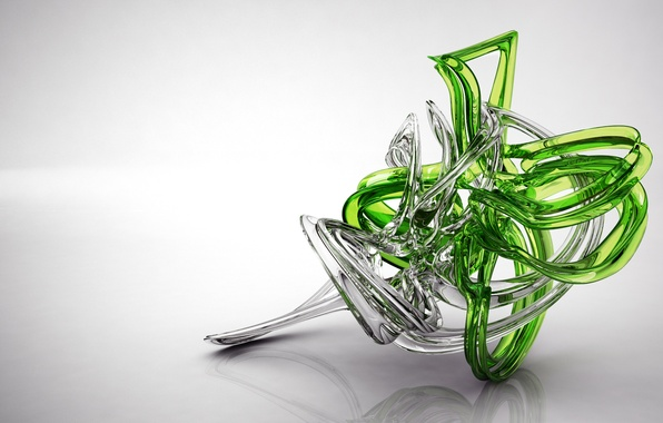 Picture white, glass, transparent, green, reflection, figure, gloss, render