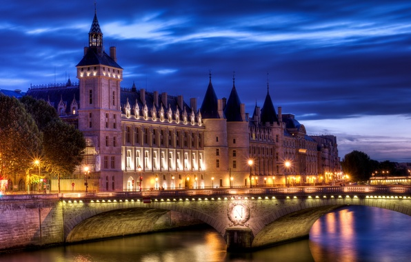 Picture light, bridge, the city, river, castle, France, Paris, the evening, Paris, France, The Concierge, Conciergerie, …