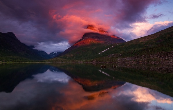 Picture clouds, light, sunset, mountains, the evening, Norway, the fjord