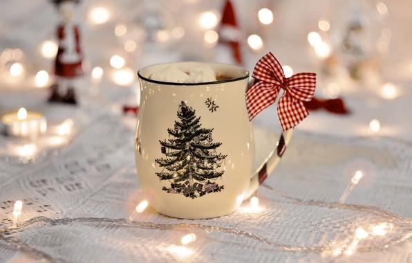 Picture new year, food, mug, garland, bokeh