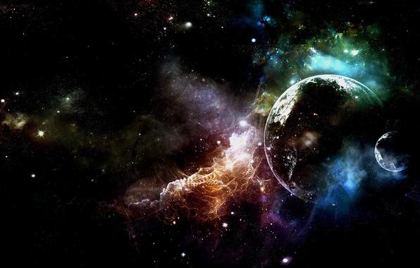 Picture space, stars, nebula, planet, glow